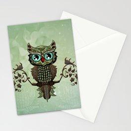 Cute  owl, green diamond Stationery Cards