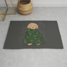 The dog in green scarf Rug