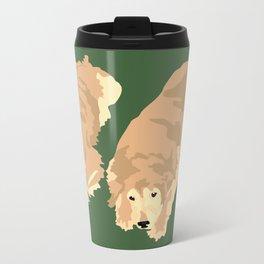 2 Golden Retrievers Metal Travel Mug