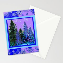 BLUE-LILAC WINTER SNOWFLAKE CRYSTALS FOREST ART DESIGN Stationery Cards