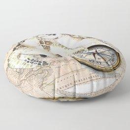 Sea Turtles Compass Map Floor Pillow