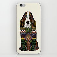 the hound iPhone & iPod Skins featuring Basset Hound by Sharon Turner