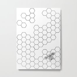 Beehive and Bee  Metal Print