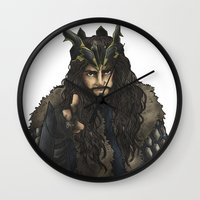 thorin Wall Clocks featuring Uncle Thorin by AlyTheKitten