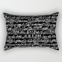 Hand Written Sheet Music // Black Rectangular Pillow