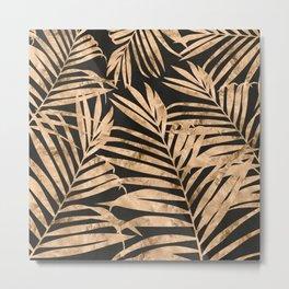black and gold palms Metal Print