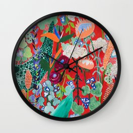 Red floral Jungle Garden Botanical featuring Proteas, Reeds, Eucalyptus, Ferns and Birds of Paradise Wall Clock