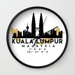 KUALA LUMPUR MALAYSIA SILHOUETTE SKYLINE MAP ART Wall Clock