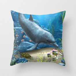 The World Of The Dolphin Throw Pillow
