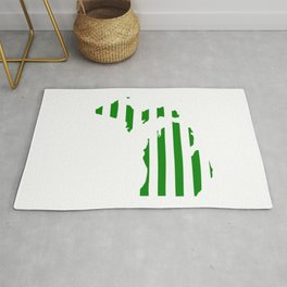 Green and White Michigan Rug