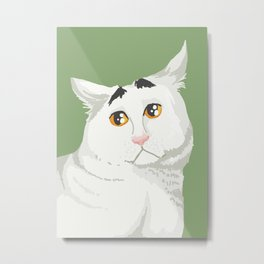 Sam the Cat with Eyebrows Metal Print