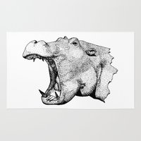 hippo Area & Throw Rugs featuring Hippo by MattLeckie