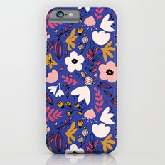 Fantasy flowers on blue Slim Case iPhone 6s