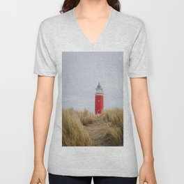 Photo of the lighthouse of Texel, on the Dutch Wadden Island Texel, in the world heritage of the Waddensea | Fine Art Travel Photography | Unisex V-Neck