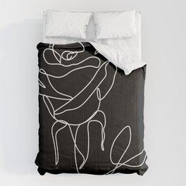 Minimal Line Art Rose Black Comforters