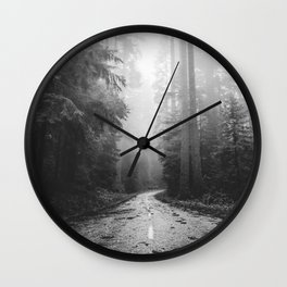 Redwood Forest Adventure Black and White - Nature Photography Wall Clock