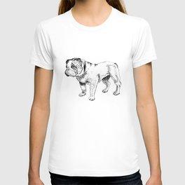 Bulldog Ink Drawing T-shirt