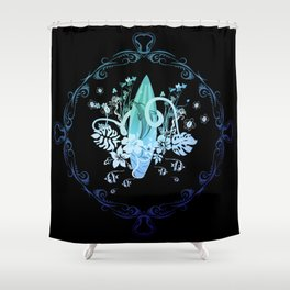 Surfing, tropical design with surfboard and flowers Shower Curtain