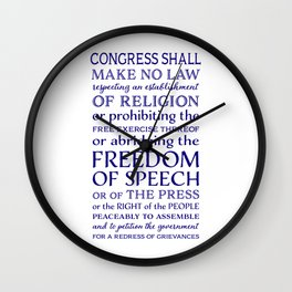 Defend Your Freedom of Speech Wall Clock