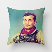 murray Throw Pillows featuring Space Murray by rubbishmonkey