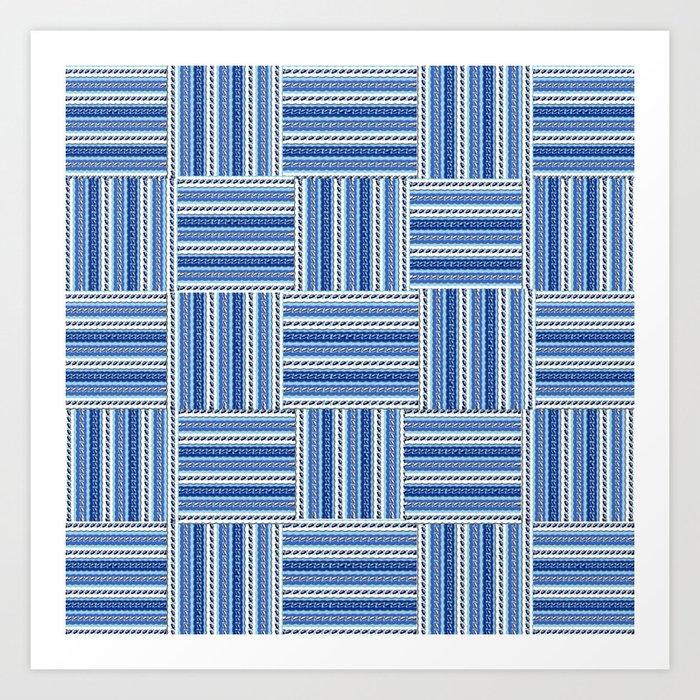 Blue check waves Art Print