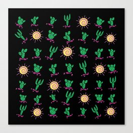 Sunny Cacti on Black Background Canvas Print