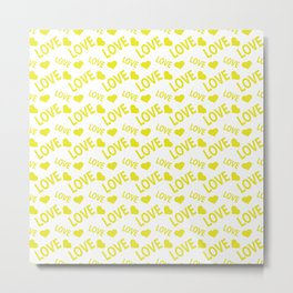 Love Heart Yellow Metal Print