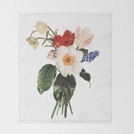 Spring Flowers Bouquet Throw Blanket