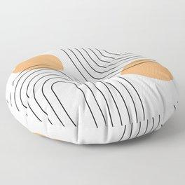 Mid Century Modern Geometric 61 (Rainbow and Sun Abstraction) Floor Pillow