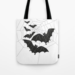 Black Bats with Spider Web Halloween Tote Bag
