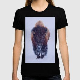 Bison Moving Through the Snow in Yellowstone National Park T-shirt