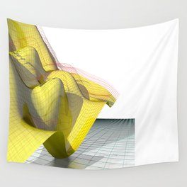Waved yellow surface Wall Tapestry