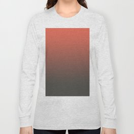 Pantone Living Coral & Beluga Gray Gradient Ombre Blend, Soft Horizontal Line Long Sleeve T-shirt