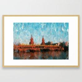 Oberbaum Bridge, Berlin - Oberbaumbrücke Berlin abstract Framed Art Print