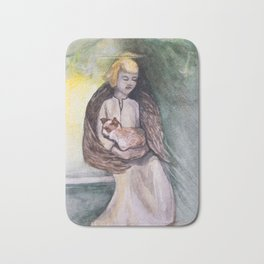Angel with cat watercolor Bath Mat