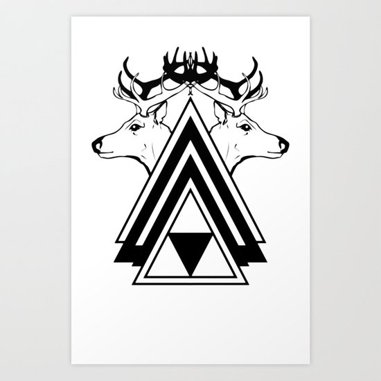 Deer Crossing Art Print