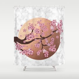 Blooming Sakura Branch on marble Shower Curtain