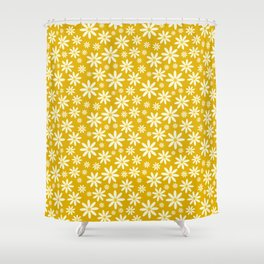 Retro Groovy Daisy Flower Power Vintage Pattern in Ivory, Golden Yellow Mustard Color, Oil Texture Shower Curtain