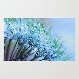 Periwinkle Blue Teal Dandelion Dew Flowers Rug