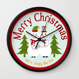 Merry Christmas and a Happy New Year Snowman Couple Wall Clock
