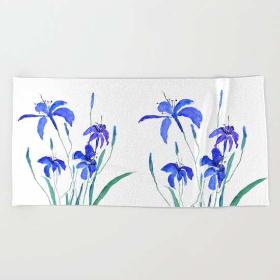 blue day lily Beach Towel