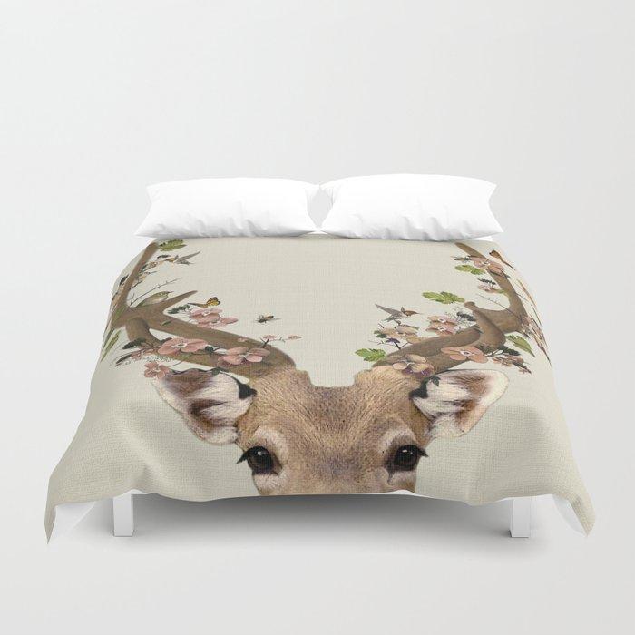 Deer Print Flower Crown Woodlands Decor Wall Art Animals Nursery Duvet Cover