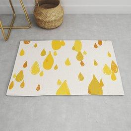 Whimsical raindrops yellow aesthetic Rug