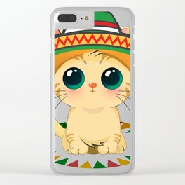 Cute Cat with Big Eyes Cinco de Mayo T Shirt Clear iPhone Case