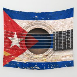 Old Vintage Acoustic Guitar with Cuban Flag Wall Tapestry