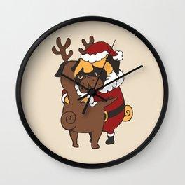 Pug Hugs Christmas Wall Clock