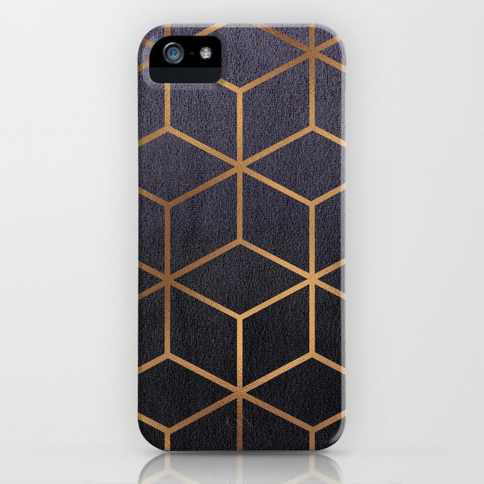 Dark Purple and Gold - Geometric Textured Gradient Cube Design iPhone Case