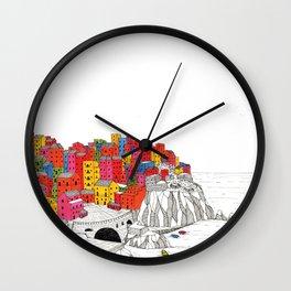 Manarola - Colorful Italian coastal town illustration Wall Clock