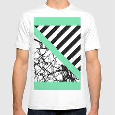 Stripes N Marble - Black and white geometric stripes and marble pattern, bold on green background Mens Fitted Tee MEDIUM White