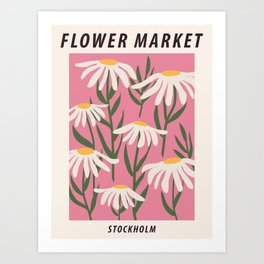 Flower market print, Stockholm, Posters aesthetic, Chamomile, Daisy art print, Pink flower art, Floral art Art Print